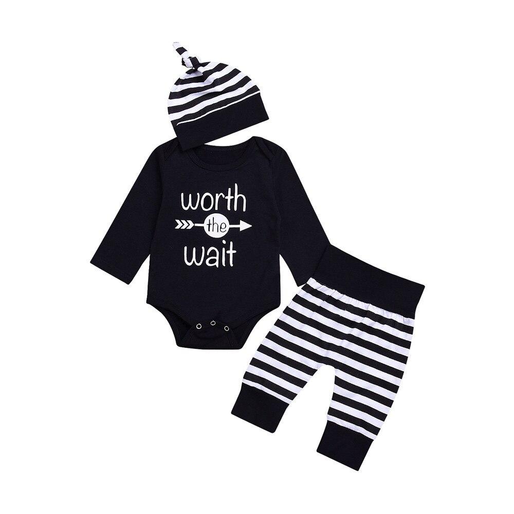 3pcs Newborn Infant Baby Boys Girls Letter Bodysuit+Stripe Pants+Hat Clothes Set Long Sleeve Bay Boy Girl Bodysuits Casual Daily