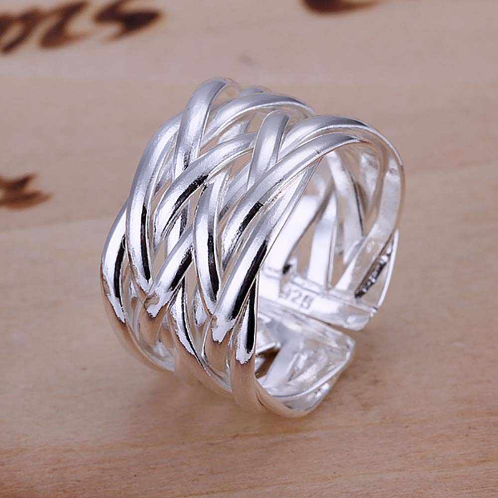 Wholesale  Jewelry Silver Plated Ring Handmade Fashion Net Weaves Cross Jewelry Women&Men Gift Opening Finger Rings