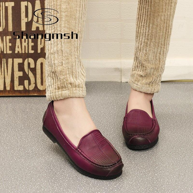 Shangmsh Plus Tamaño de Los Zapatos de Cuero Mujer Pisos Punta Redonda de Cuero