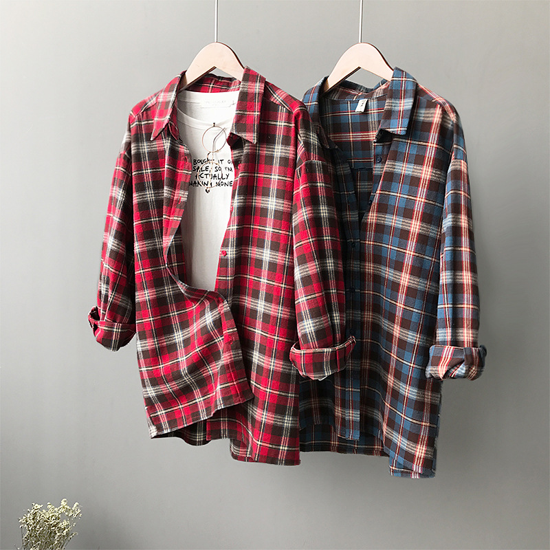 Women's Clothing Korea Port Wind Loose Lapel Red Plaid Long-sleeved Sanded Blouses Women Autumn Shirt 399