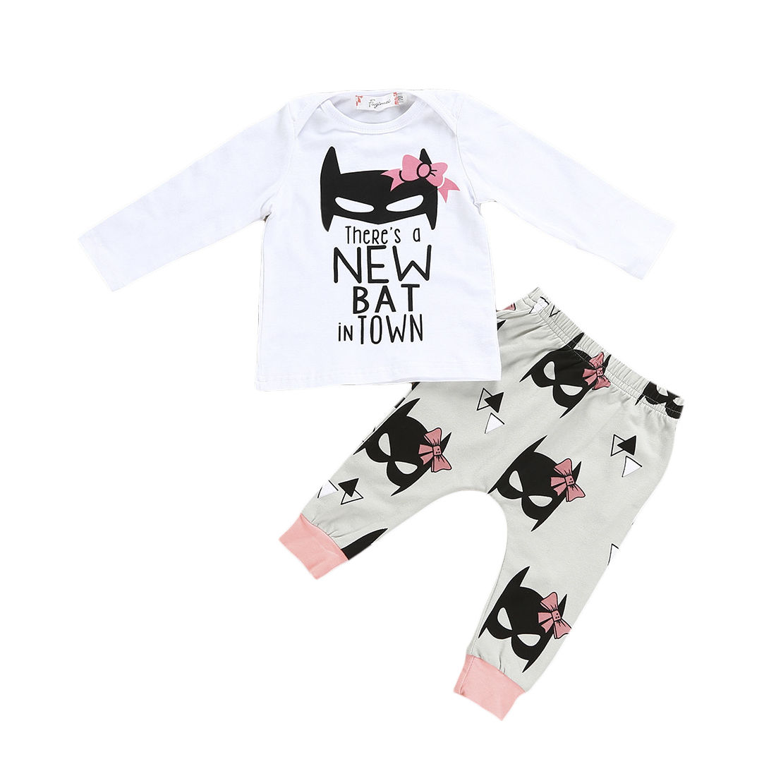 2017 Newborn Baby Girls Bat Clothing Set Infant Babies Girl Full Sleeve T shirt Tops +Long Pants Outfit Set 0-24M Clothes infant tops pants love pattern headband baby girl outfit set clothing 3pcs kid children baby girls clothes long sleeve