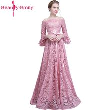 Beauty Emily Pink Lace Bridesmaid Dresses 2019 Long Plus Size A-line Party Prom Formal Wedding Bridal
