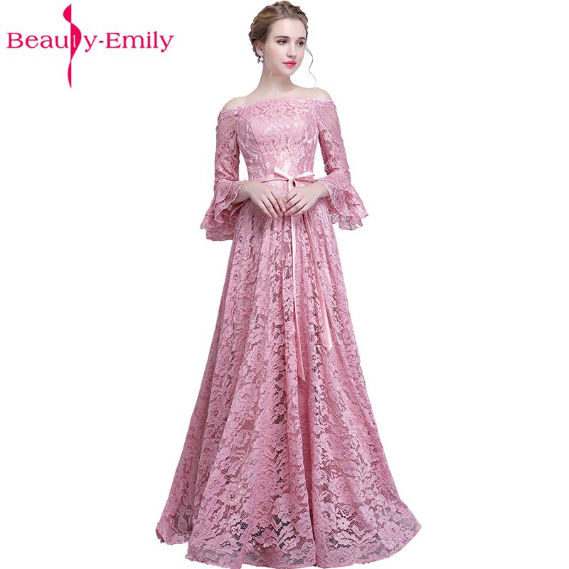 Beauty Emily Pink Lace   Bridesmaid     Dresses   2019 Long Plus Size A-line Party Prom   Dresses   Formal Wedding Party Bridal   Dresses