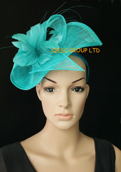 d0c1dfd0959db Wholesale Elegant NEW 13 colours arrival Turquoise blue sinamay Fascinator  hat for kentucky derby wedding party.-in Women s Hair Accessories from  Apparel ...