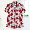 Plus Size Floral Women Blouse Summer Turn-Down Collar Short Sleeve Blouse And Shirt Women Cherry Print Casual Cotton Shirts