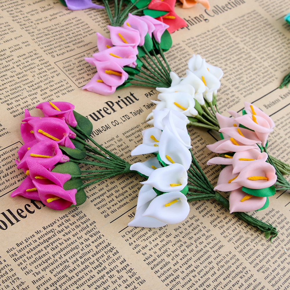 12pcs Mini Foam Calla Handmake Artificial Flower Bouquet Wedding