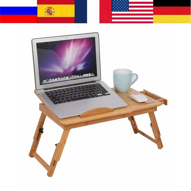للطي المحمولة الخيزران طاولة كمبيوتر محمول قابل للتعديل الكمبيوتر مكتب أريكة سرير طاولة كمبيوتر محمول مع مروحة التبريد دفتر كمبيوتر محمول طاولة السرير