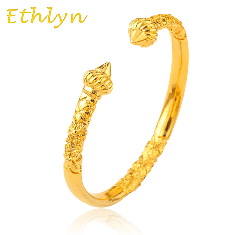 Anniyo African Man Bangle Jewelry Gold Color Dubai Embossing