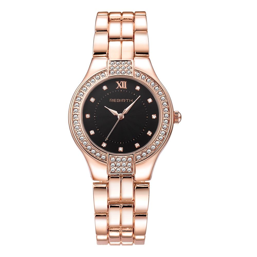 REBIRTH fashion women watch with diamond gold watch ladies t