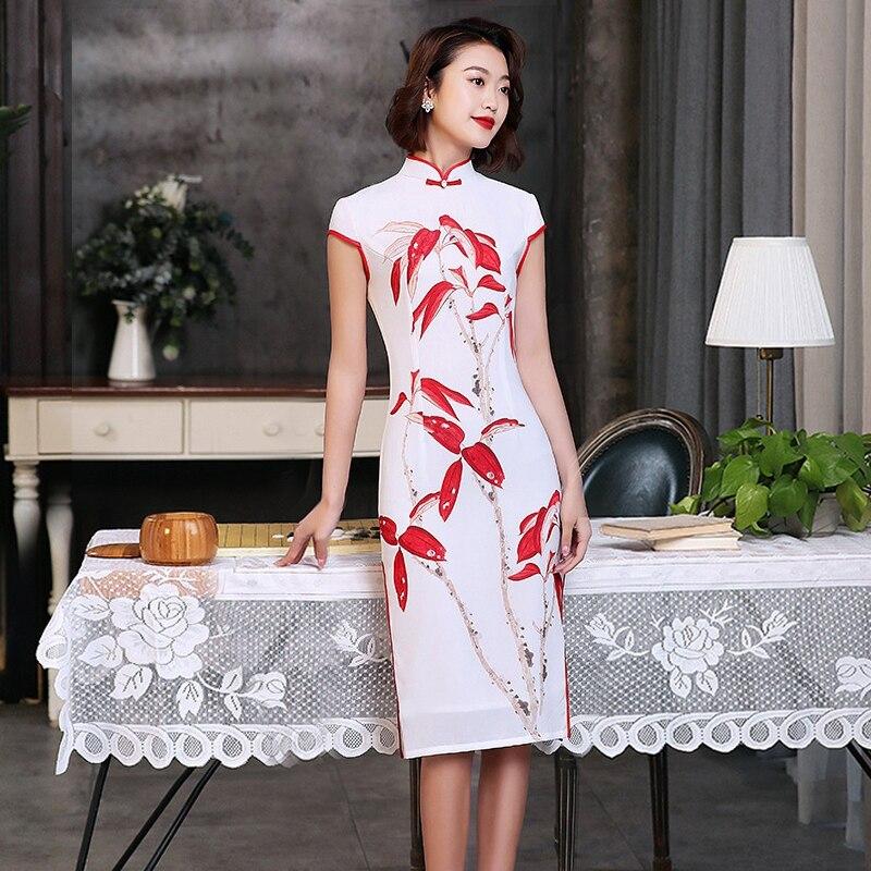 S of 3XL Knee Length Cheongsam Vintage Chinese style Dress 2019 Fashion Womens Rayon Qipao Slim Party Dresses Button Vestido