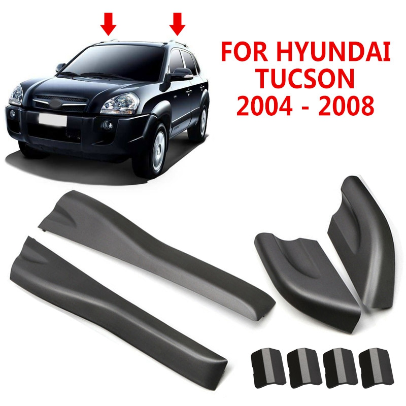 pcmos 8pcs Black Roof Rails Rack End Cover Shell For Hyundai Tucson 2004 - 2008 Auto Exterior Parts Front Rear Left Right Roof image
