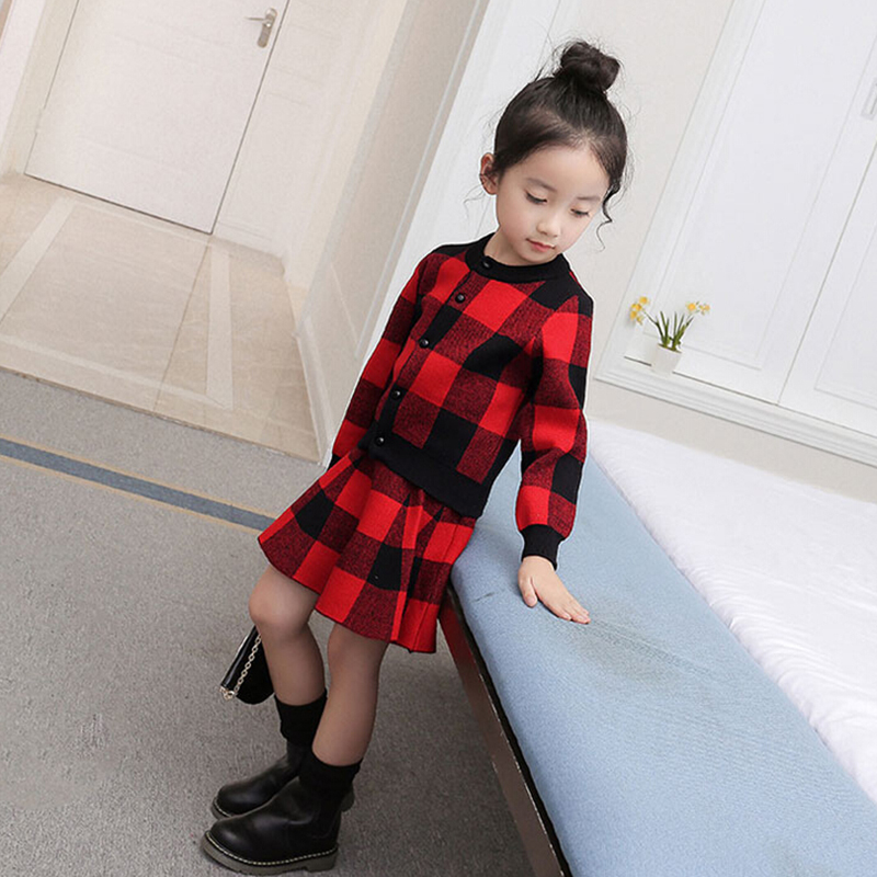 Girls Clothes Suits 2018 Spring Autumn Kids Clothing Sets Plaid Long Sleeve Coat + Skirts 2pcs Suits For Baby Girl Clothes Set