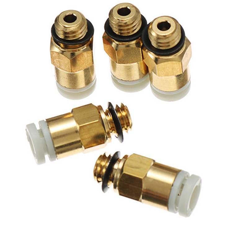 IsMyStore: 2PCS CR-10/Ender 3D Printer M6 Thread Nozzle Brass Pneumatic Connector Quick Joint For Remote Extruder