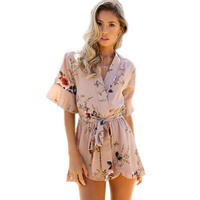 VITIANA 2017 Summer Women Boho Red Floral Print Ruffles Playsuits White V Neck Jumpsuits Sexy Beach