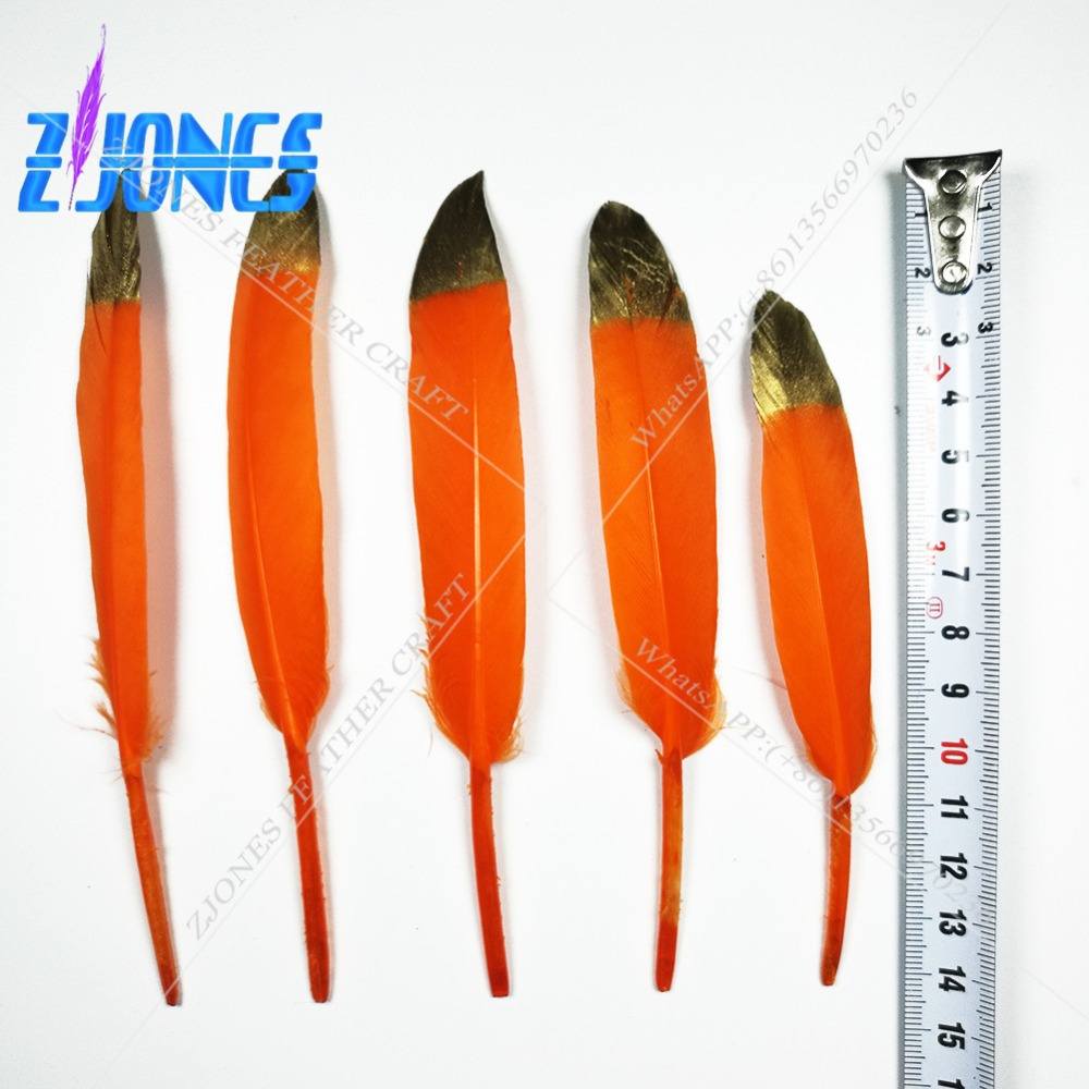New Arrival Goose feather Gold Tips Orange Goose feathers 100pcs 10-15cm 4-6 for Craft Decoration