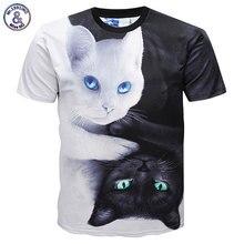 Mr.1991INC Very Cool Fashion T-shirts Men/Women 3d T-shirt Print White And Black Cats Summer Tops Tees Brand T shirt DK632