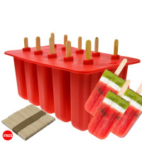 10 Cell Mould Tray Pan Silicone Ice Cream Mould Kitchen Frozen Ice Cube Molds With 50pcs Free Ice Cream Sticks 1pcs/lot