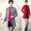 New women outwear Slim Wool Coat Ladies Long autumn and Winter Windbreaker Female casual plus size solid color wool jacket MZ899