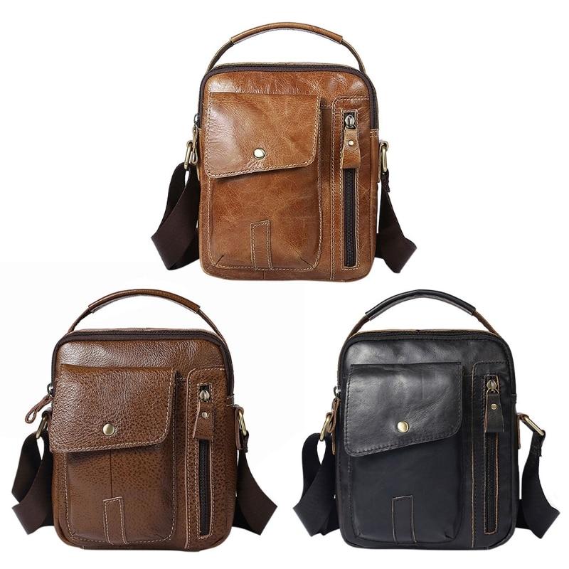 Shoulder Bag Men's Genuine Cowhide Leather Shoulder Bag Travel Vintage Tote Crossbody Handbag