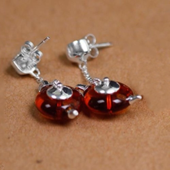 925 Sterling Silver Natural Amber Teapot Earrings114