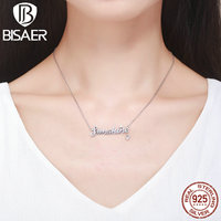 Genuine 100 925 Sterling Silver Sunshine Letter Pendant Short Link Chain Necklaces Pendants Sterling Silver Jewelry