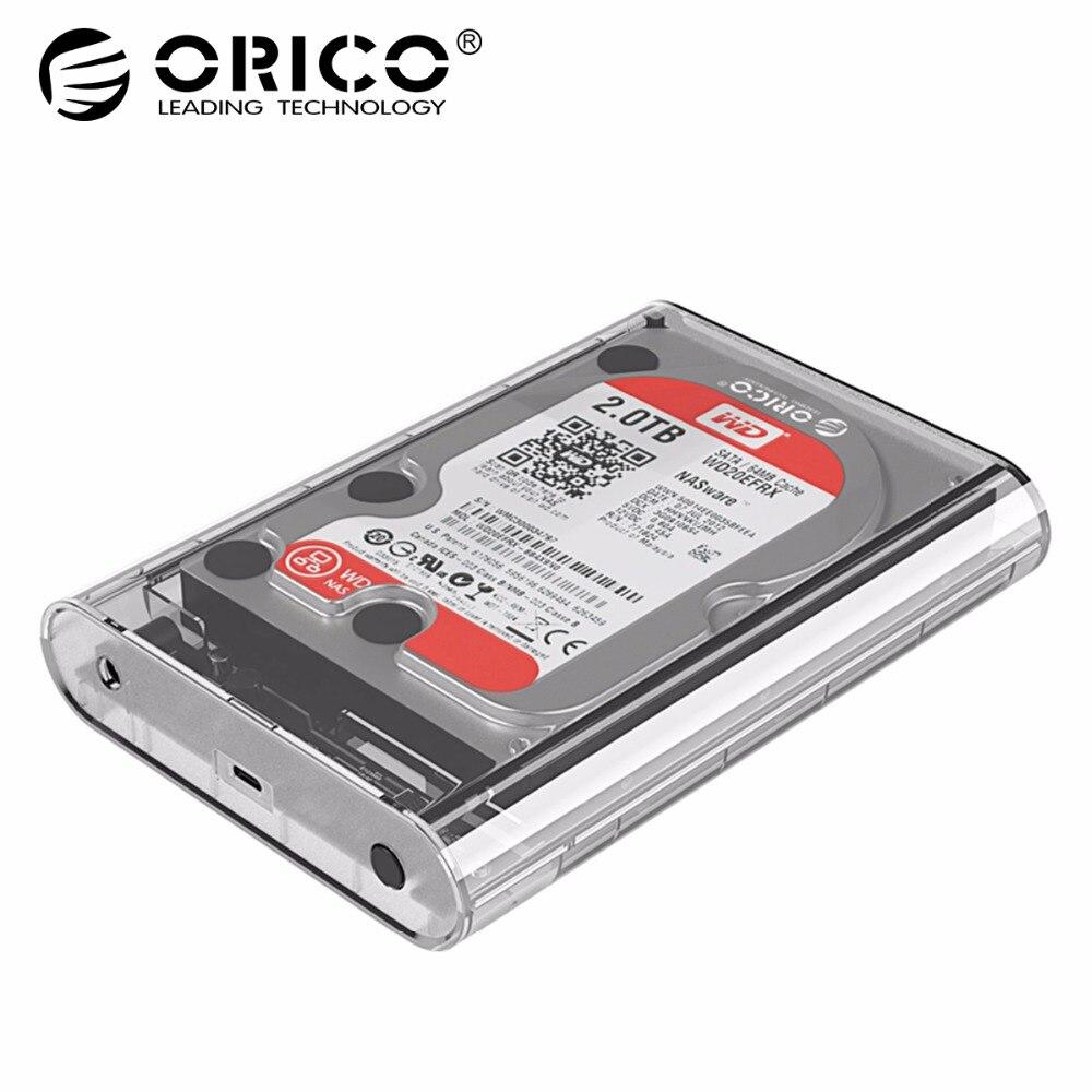 ORICO 3,5 pulgadas funda HDD transparente adaptador SSD SATA a USB 3,1 tipo C para disco duro caja de almacenamiento externo HDD caja