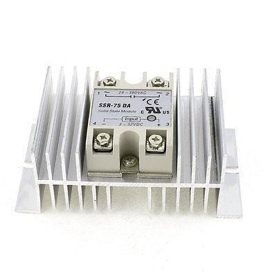 AC 24-380V 75A Output Silver Tone Aluminum Heatsink One Phase Solid State Relay high quality ac ac 80 250v 24 380v 60a 4 screw terminal 1 phase solid state relay w heatsink