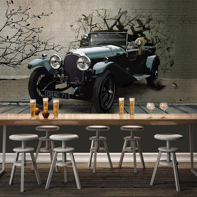D wallpaper vintage car broken wall photo mural modern