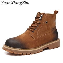 2018 Fashion Men Boots Autumn Martins Boots Winter Genuine Leather Ankle Boots Work Boot Casual Shoes Man Martins Booties