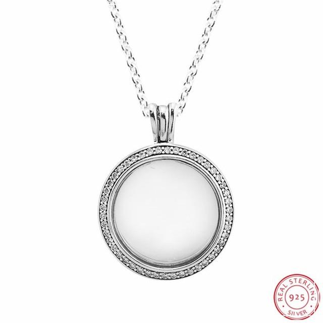 Colliers et pendentifs de médaillon flottant étincelant en argent Sterling 925 bijoux avec verre en cristal saphir et clair CZ FLN041