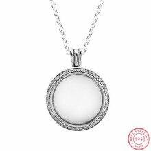Köpüklü yüzen madalyon kolye ve kolye 925 ayar gümüş takı safir kristal cam ile & temizle CZ FLN041