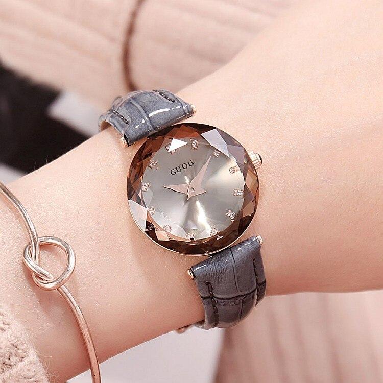 1a202dfbe28e 2018 nuevo GUOU reloj moda mujer relojes señoras del cuero genuino reloj  exquisito diamante reloj reloj femenino reloj mujer saat envíos gratuitos  en todo ...