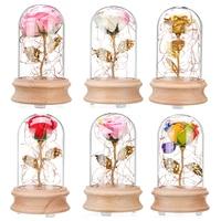 Rose Glass Flower light LED Bluetooth Speaker Display LED Nightlight Warm White Home Indoor Decoration Roses Table Lamp