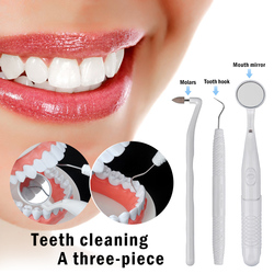 3pcs/set White/purple Color Teeth Cleaner LED Light Oral Kit Dental Mirror+Plaque Remove+ Tooth Stain Eraser Tool Teeth Polisher