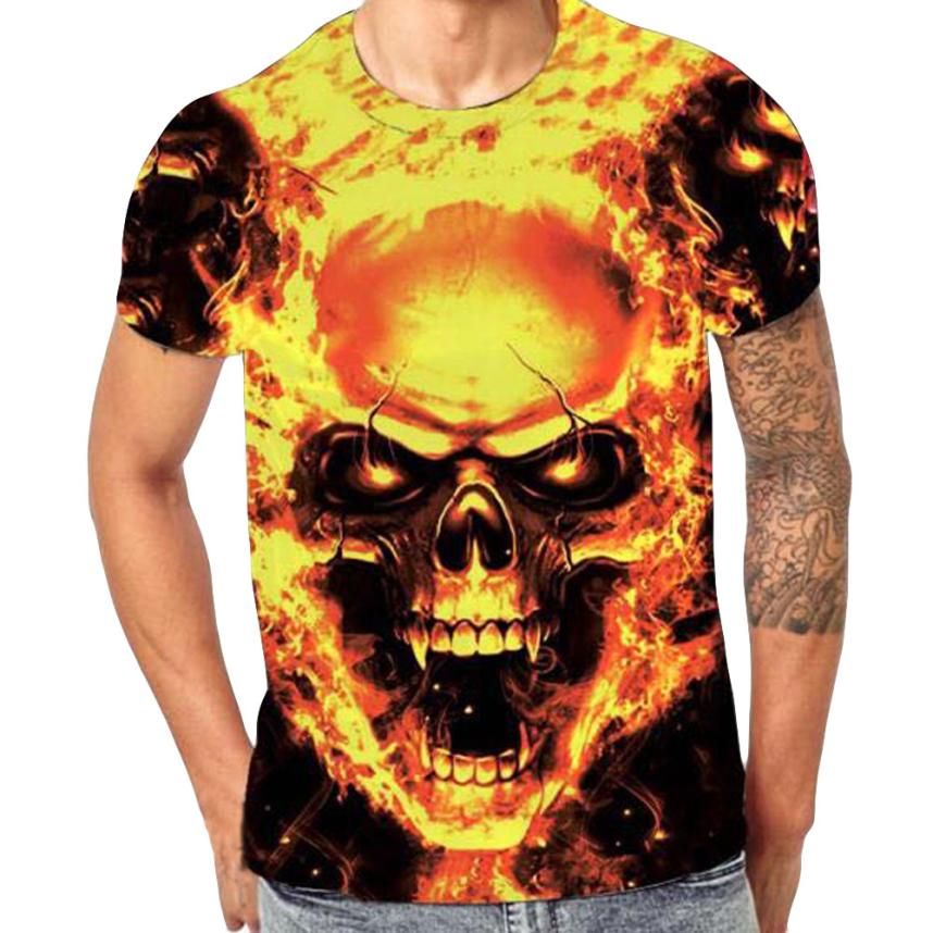Mens Skull 3D Printing Tees Shirt Short Sleeve T Shirt british style men shirt 2018 big brand brand dry brand 2018 male hig