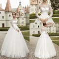 2016 Hot Elegant Vintage Custom Made See Through Long Sleeve Applique With Bow Tulle Lace Ball Gown Wedding Dress