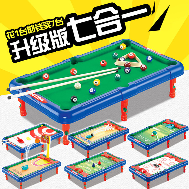 7 In 1 Multi Function Mini Billiards Soccer Basketball Table Bowling Golf Hockey  Table Kids