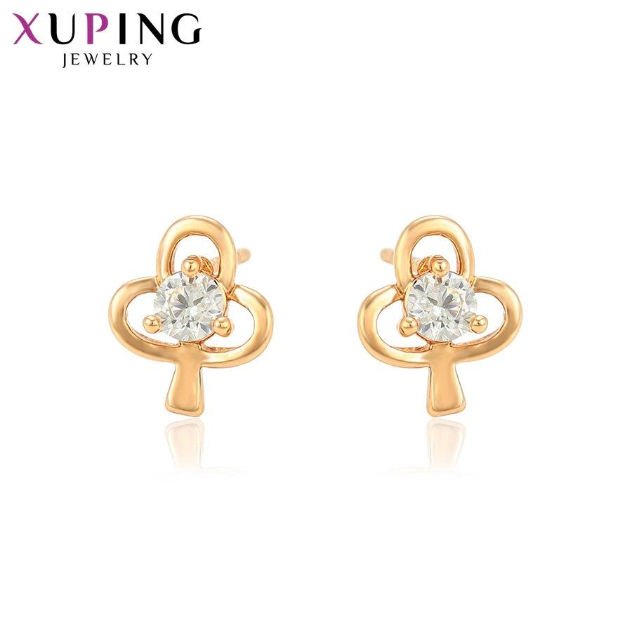 11,11 сделок Xuping модные элегантные серьги золотые Цвет с покрытием синтетический CZ для Для женщин Рождество подарок S81, 1-95059