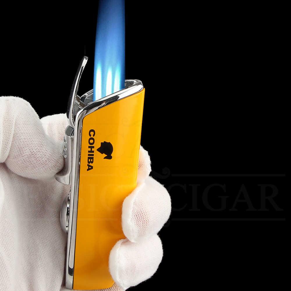 COHIBA Мини карманная зажигалка для сигар металлическая ветрозащитная 3 струйная синяя пламенная горелка зажигалки для сигарет с дырокол для сигар без подарочной коробки