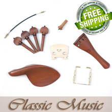High Quality Boxwood Violin Parts (4/4), Including Chinrest, Tailpiece, Endpin, Bridge, Pegs, Chinrest Clamp & Tail Gut