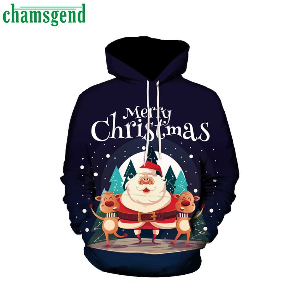 Chamsgend 2019 Christmas Winter Couples Hoodies Men Women Xmas 3D Print Blouse Sweatshirt Fashion Long Sleeve Pullover Hoody#40*