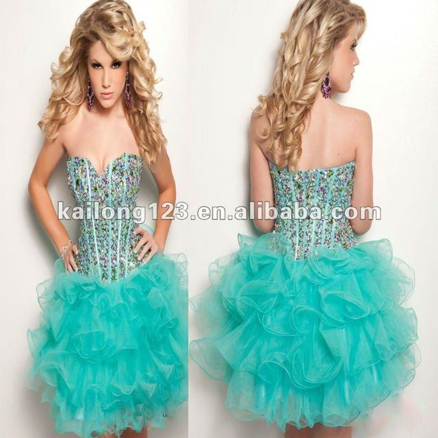 b81c9d8f8272 Sweetheart Fitted Corset Beaded Boning Bodice Layers Skirt A-line Short  Aqua Tulle Fashion Teenage Cocktail Dress
