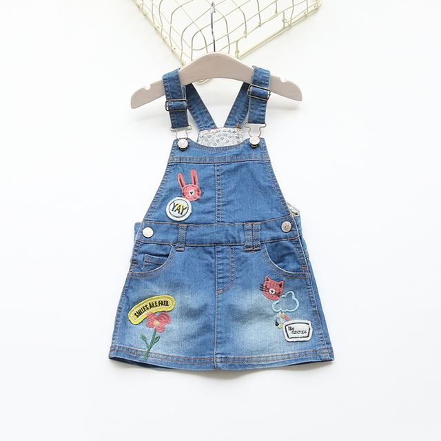 2016 Cute Flower Animal Embroidery Girls Denim Sundress 100% Cotton Children's Dresses Kids Suspender Dress Child Outfit Clothes