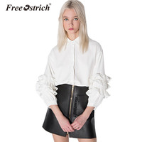 Free Ostrich 2017 Summer Women Loose Long Sleeve Vintage Party Ruffle Top Casual ladies Blouse Shirt Slim Fit For a Blouse