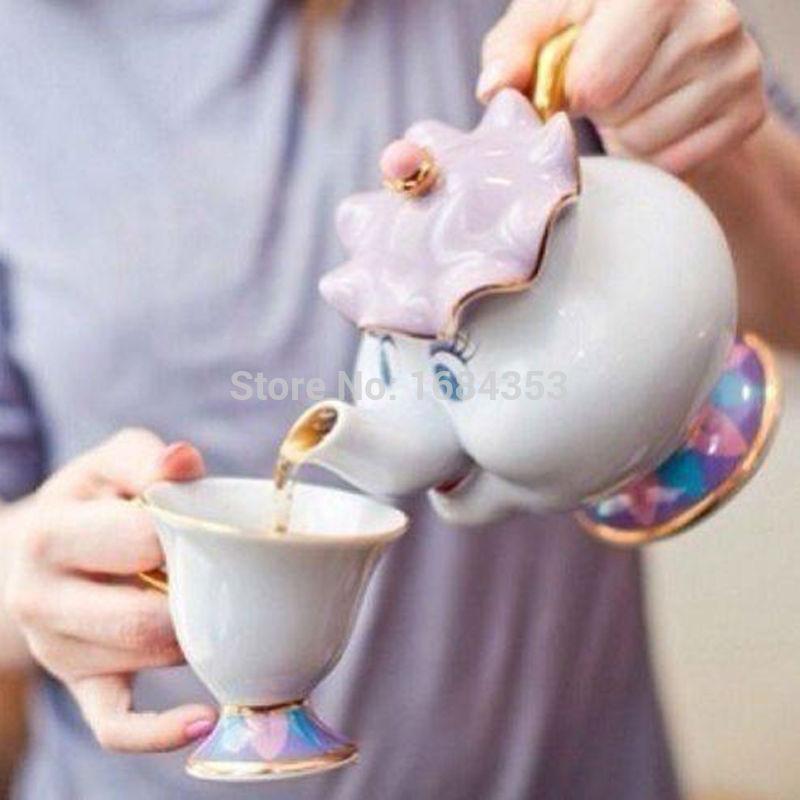 New 1 pot 1 cup Cartoon Beauty And The Beast Teapot Mug Mrs Potts Chip Tea