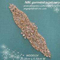 Embroidered Bridal Beaded Rhinestone Applique Patch For Wedding Dress WDD0314