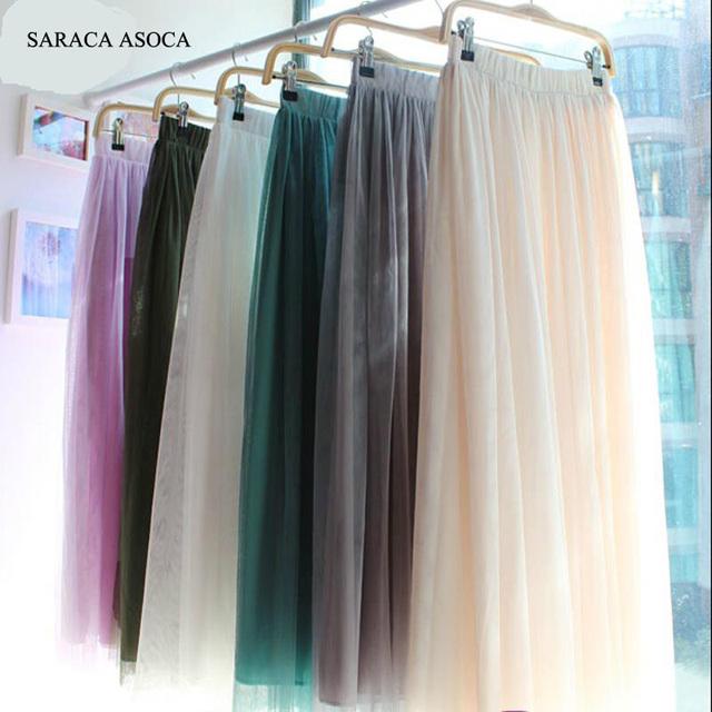 Nueva Moda 3 capa Larga de Gasa De La Gasa Maxi vestido de Bola musulmán Falda de Las Mujeres 18 de color Hasta Los Tobillos Tul Faldas Niñas Saia Femininas