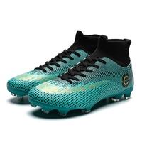 Мужские футбольные бутсы Бутсы длинные шипы TF шипы лодыжки высокие кроссовки Мягкий Крытый газон футбол в футзале обувь для мужчин