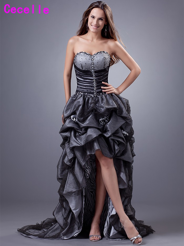 Grey Tulle High Low Short   Cocktail     Dresses   2019 For Teens Sweetheart Elegant Beaded Crystals Flowers Prom   Cocktail   Party   Dress