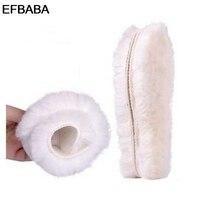 EFBABAจริงขนสัตว์Insolesแผ่นขนฤดูหนาวที่อบอุ่นพื้นรองเท้าผู้ชายผู้หญิงรองเท้าแผ่นแทรกรอง